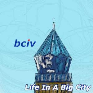 Life In A Big City album cover. A painting of the crystal shaped top of a building in Kyiv