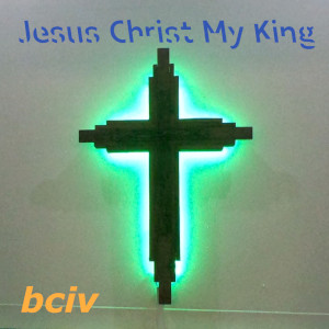 Jesus Christ My King album cover. A cross with a blue glowing outline