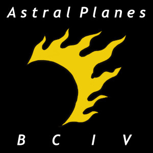 Astral Planes Logo: Golden sun and moon eclipsed at half-cresent with seven sun ray flames along the edge. The background is black.