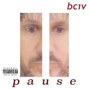 Universal Pause symbol which looks like the number eleven composed of a multiple exposure of Bciv's face on a white background.