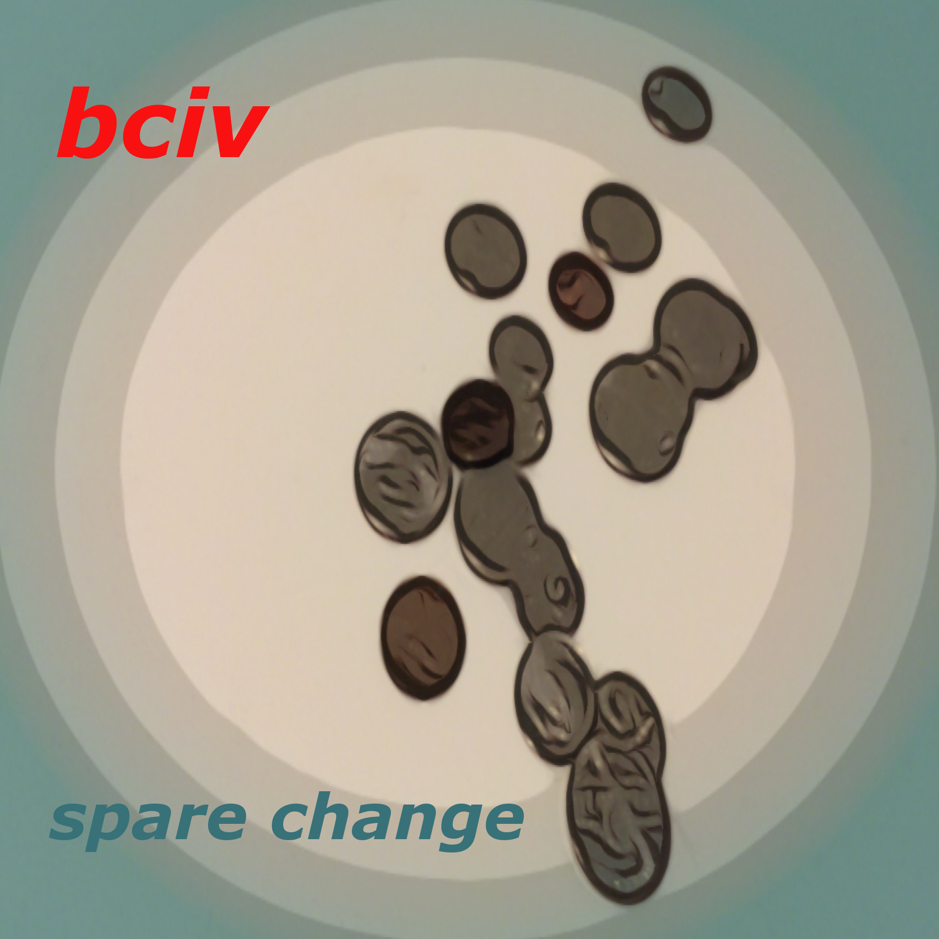 Album cover for Spare Change album. Cartoonized silver coins lay on a turquoise background.