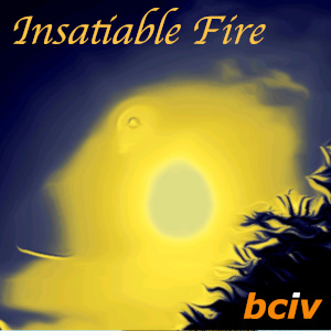 Insatiable Fire album cover. A dark blue sky with a firey golden sun