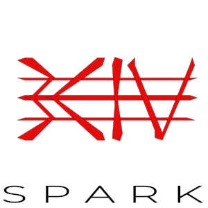 Red Bciv letters with three lines across. Spark is written with thin letters below